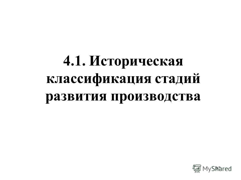 37 4.1. Историческая классификация стадий развития производства