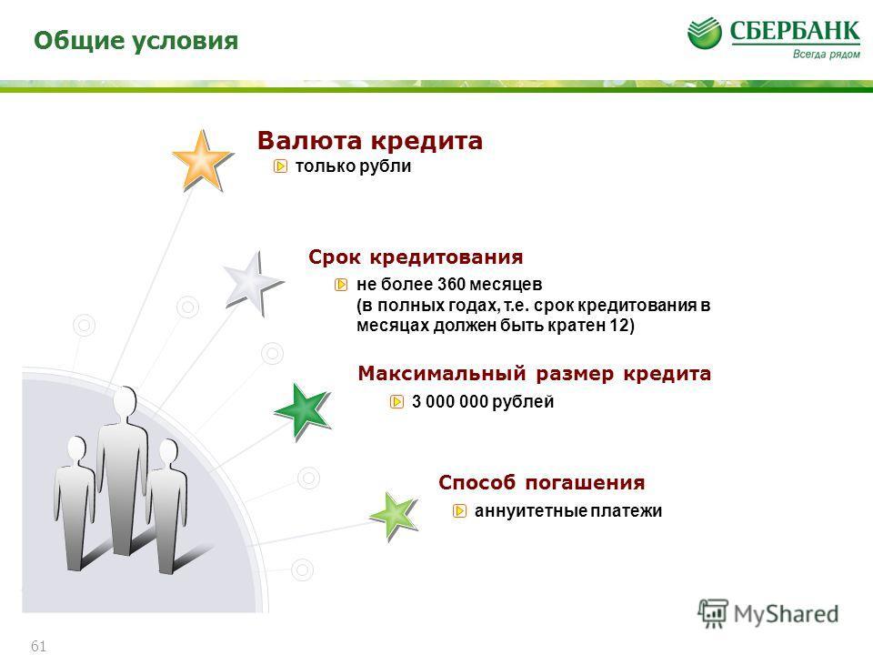 Общие условия 61 Валюта кредита Срок кредитования Максимальный размер кредита Способ погашения только рубли не более 360 месяцев (в полных годах, т.е. срок кредитования в месяцах должен быть кратен 12) 3 000 000 рублей аннуитетные платежи
