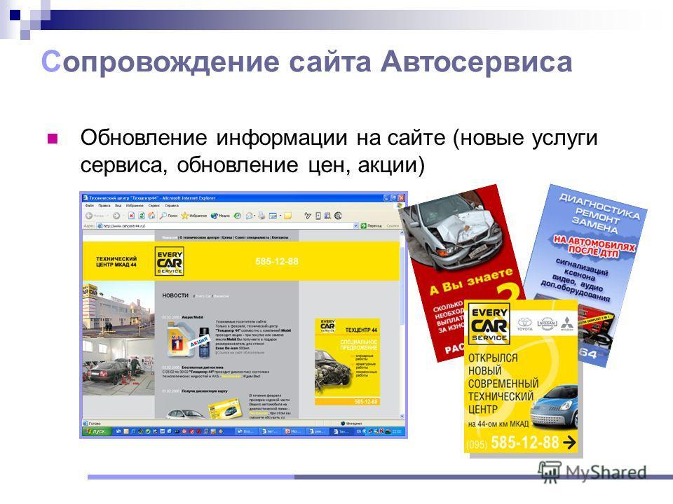 Обновление информации на сайте (новые услуги сервиса, обновление цен, акции) Сопровождение сайта Автосервиса
