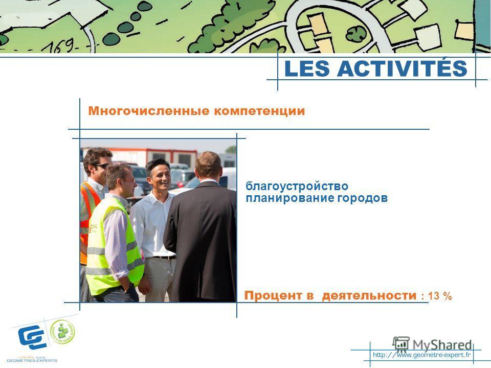 Les activités благоустройство планирование городов Процент в деятельности : 13 % Многочисленные компетенции LES ACTIVITÉS
