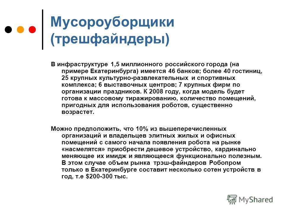 Мусороуборщики (трешфайндеры) В инфраструктуре 1,5 миллионного российского города (на примере Екатеринбурга) имеется 46 банков; более 40 гостиниц, 25 крупных культурно-развлекательных и спортивных комплекса; 6 выставочных центров; 7 крупных фирм по о