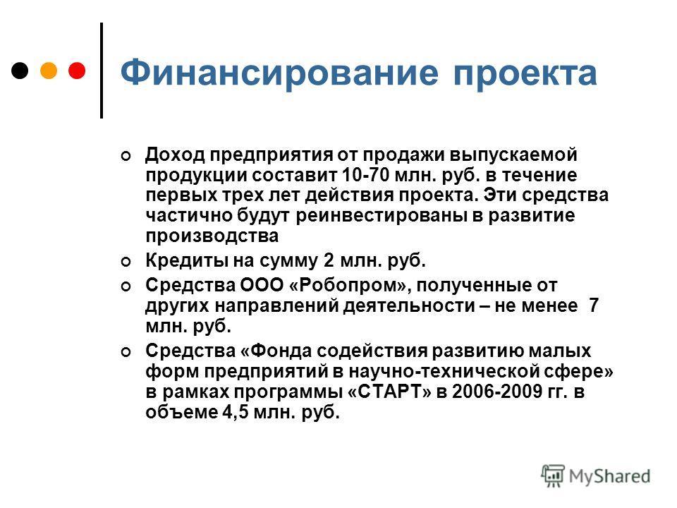 Финансирование проекта Доход предприятия от продажи выпускаемой продукции составит 10-70 млн. руб. в течение первых трех лет действия проекта. Эти средства частично будут реинвестированы в развитие производства Кредиты на сумму 2 млн. руб. Средства О