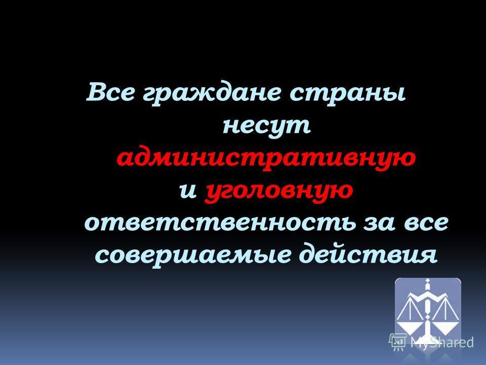 Все граждане страны несут административную и уголовную ответственность за все совершаемые действия