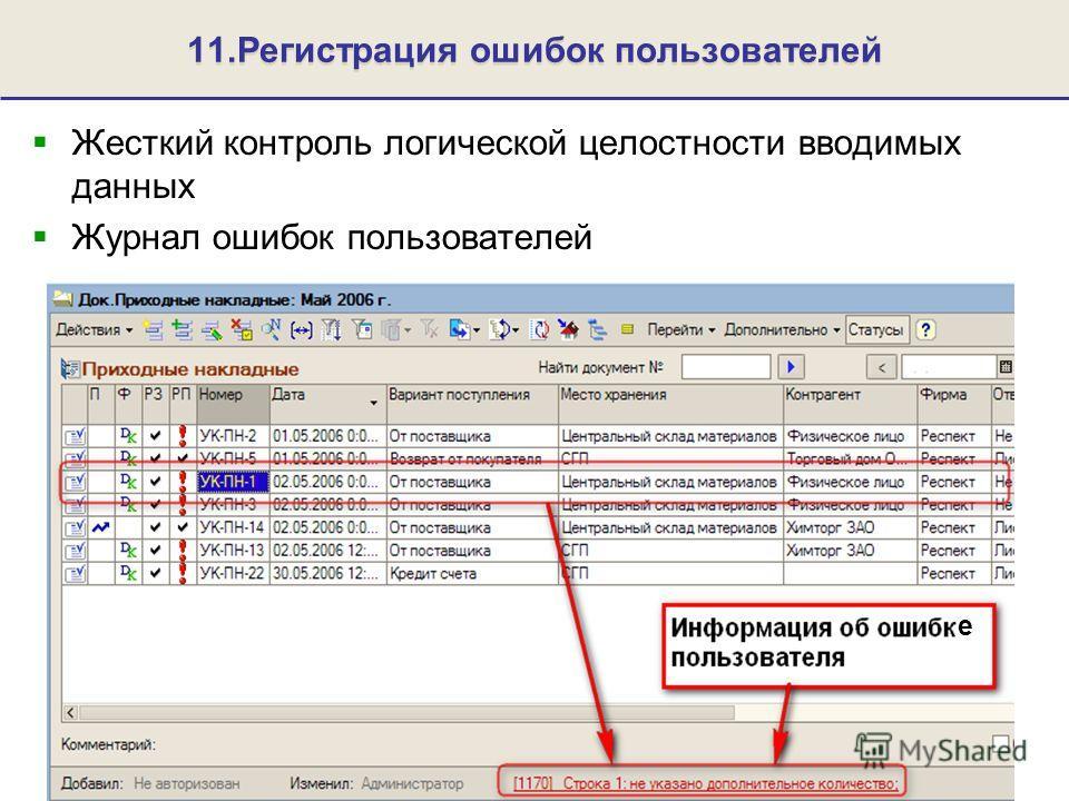11.Регистрация ошибок пользователей Жесткий контроль логической целостности вводимых данных Журнал ошибок пользователей е