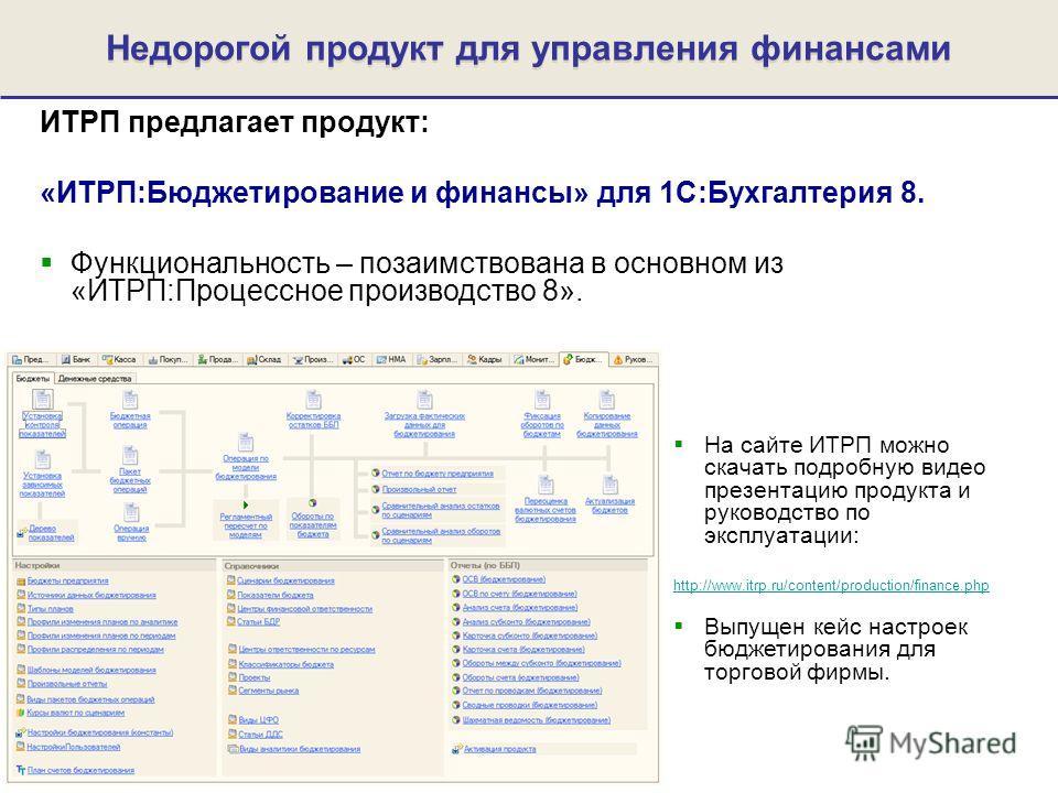 ИТРП предлагает продукт: «ИТРП:Бюджетирование и финансы» для 1С:Бухгалтерия 8. Функциональность – позаимствована в основном из «ИТРП:Процессное производство 8». Недорогой продукт для управления финансами На сайте ИТРП можно скачать подробную видео пр