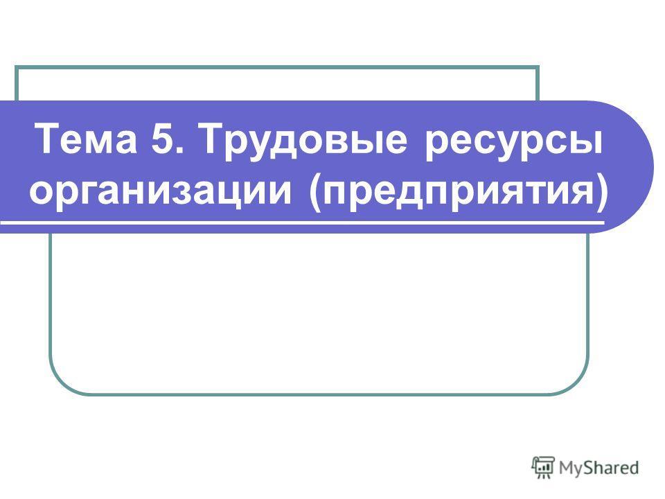 Тема 5. Трудовые ресурсы организации (предприятия)