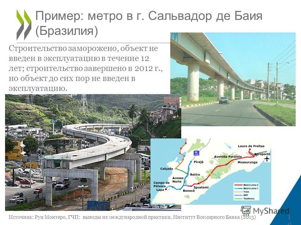 Пример: метро в г. Сальвадор де Баия (Бразилия) 18 Строительство заморожено, объект не введен в эксплуатацию в течение 12 лет; строительство завершено в 2012 г., но объект до сих пор не введен в эксплуатацию. Источник: Руи Монтеро, ГЧП: выводы из меж