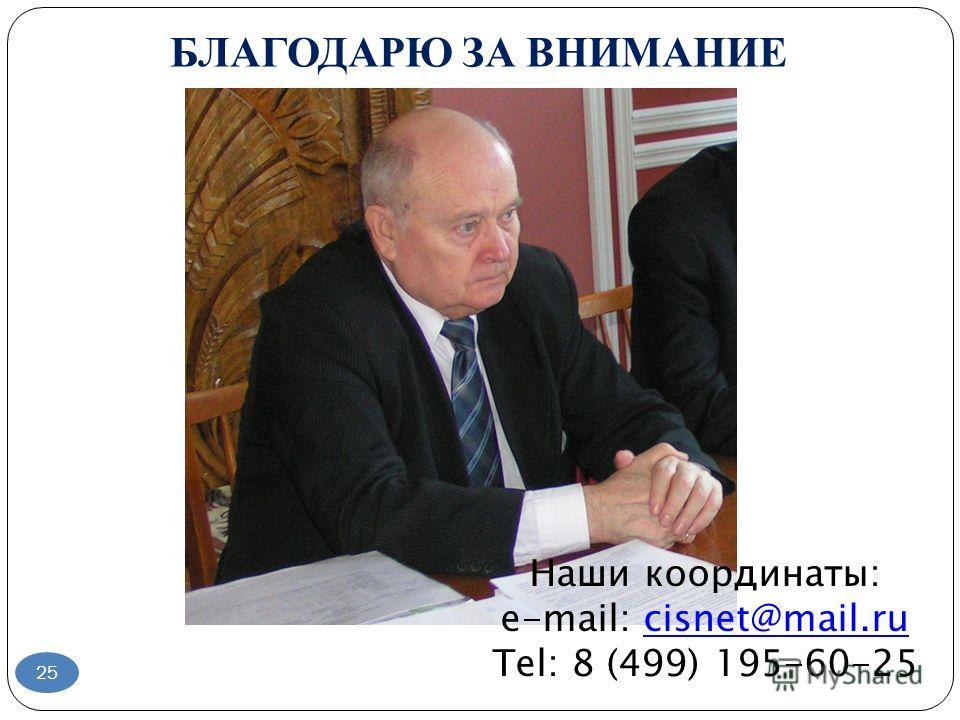 БЛАГОДАРЮ ЗА ВНИМАНИЕ 25 Наши координаты: e-mail: cisnet@mail.rucisnet@mail.ru Tel: 8 (499) 195-60-25