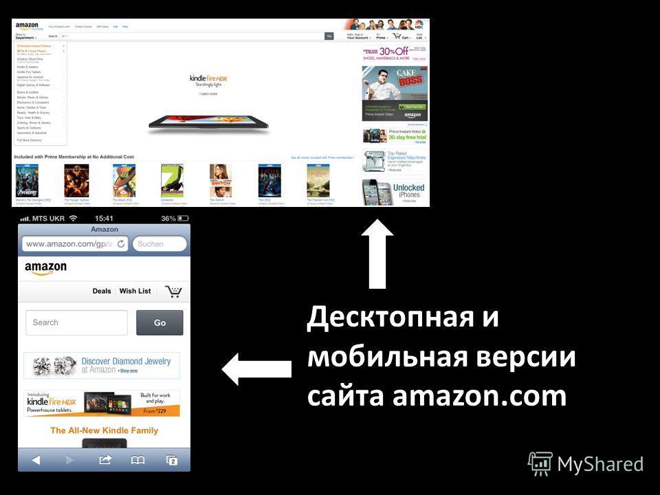 Десктопная и мобильная версии сайта amazon.com