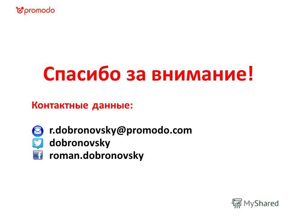Спасибо за внимание! Контактные данные: r.dobronovsky@promodo.com dobronovsky roman.dobronovsky
