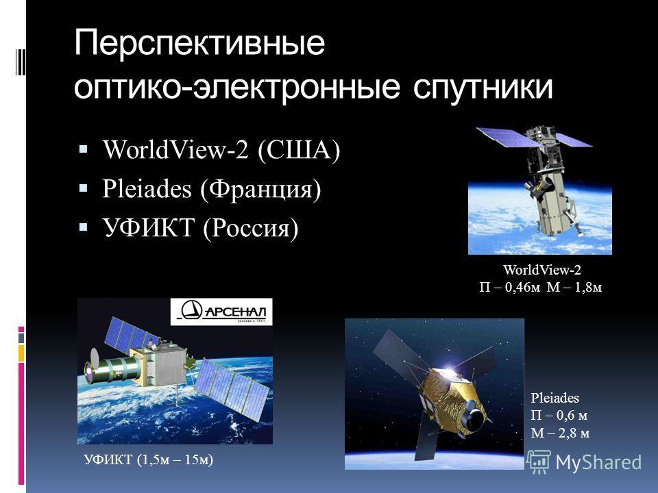 Перспективные оптико-электронные спутники WorldView-2 (США) Pleiades (Франция) УФИКТ (Россия) WorldView-2 П – 0,46м М – 1,8м УФИКТ (1,5м – 15м) Pleiades П – 0,6 м М – 2,8 м