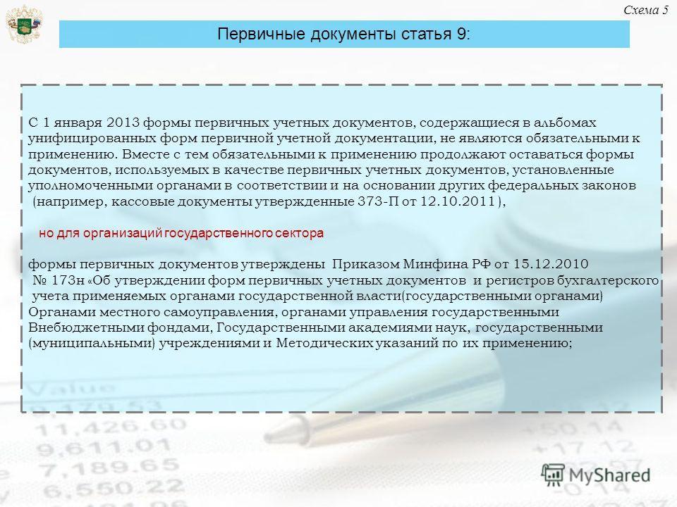 С 1 января 2013 формы первичных учетных документов, содержащиеся в альбомах унифицированных форм первичной учетной документации, не являются обязательными к применению. Вместе с тем обязательными к применению продолжают оставаться формы документов, и