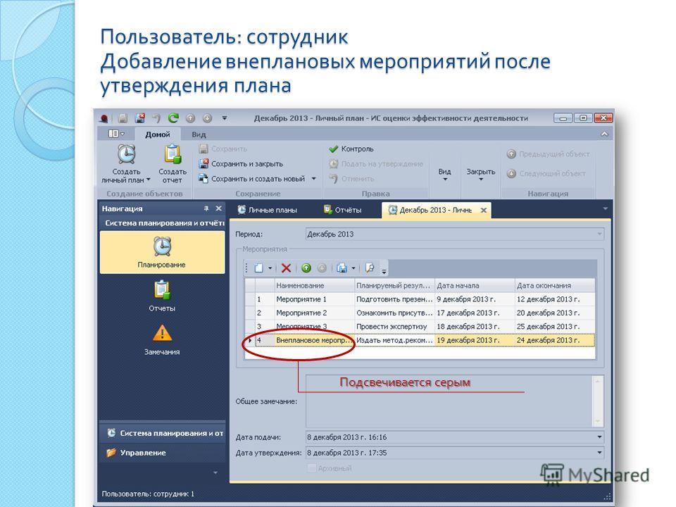 Пользователь : сотрудник Добавление внеплановых мероприятий после утверждения плана Подсвечивается серым