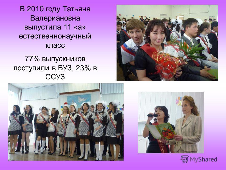 В 2010 году Татьяна Валериановна выпустила 11 «а» естественнонаучный класс 77% выпускников поступили в ВУЗ, 23% в ССУЗ