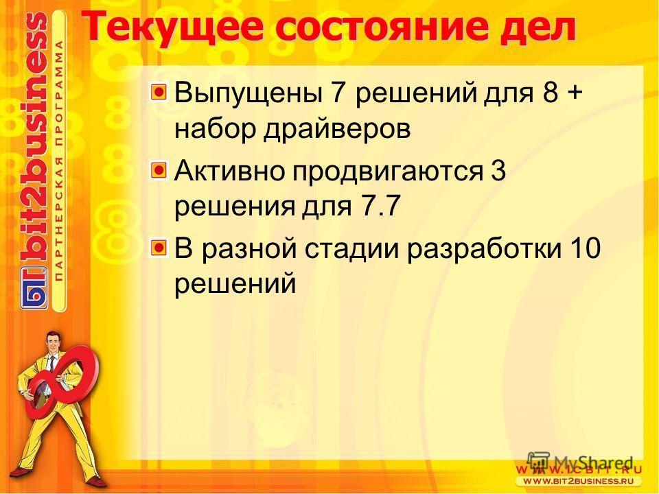 Текущее состояние дел Выпущены 7 решений для 8 + набор драйверов Активно продвигаются 3 решения для 7.7 В разной стадии разработки 10 решений