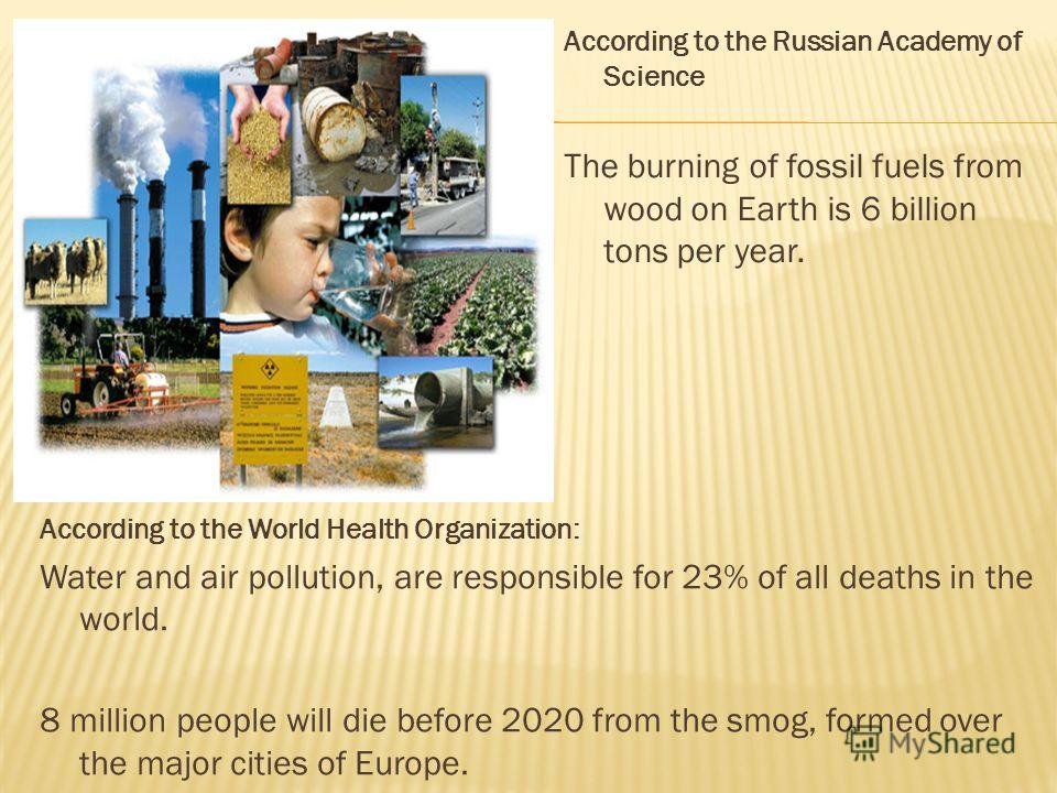 According to the Russian Academy of Science The burning of fossil fuels from wood on Earth is 6 billion tons per year. According to the World Health Organization: Water and air pollution, are responsible for 23% of all deaths in the world. 8 million