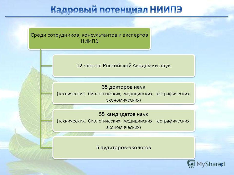 Среди сотрудников, консультантов и экспертов НИИПЭ 12 членов Российской Академии наук 35 докторов наук (технических, биологических, медицинских, географических, экономических) 55 кандидатов наук (технических, биологических, медицинских, географически