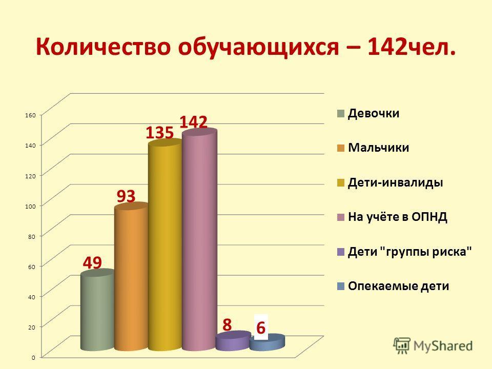 Количество обучающихся – 142чел.