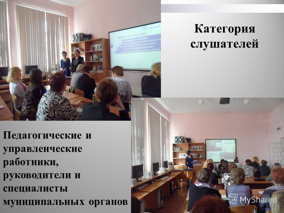 Категория слушателей Педагогические и управленческие работники, руководители и специалисты муниципальных органов