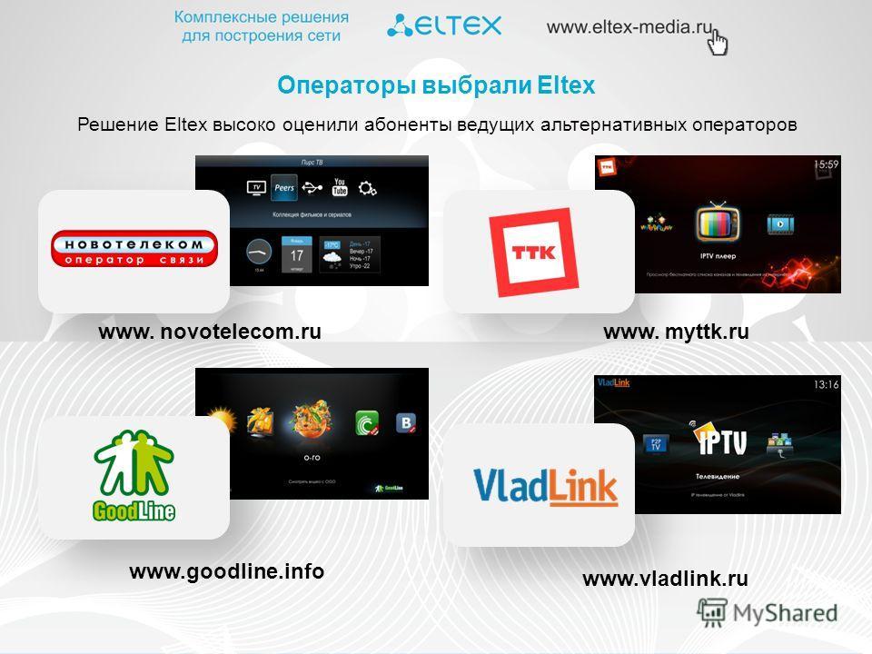 Решение Eltex высоко оценили абоненты ведущих альтернативных операторов Операторы выбрали Eltex www. novotelecom.ruwww. myttk.ru www.goodline.info www.vladlink.ru