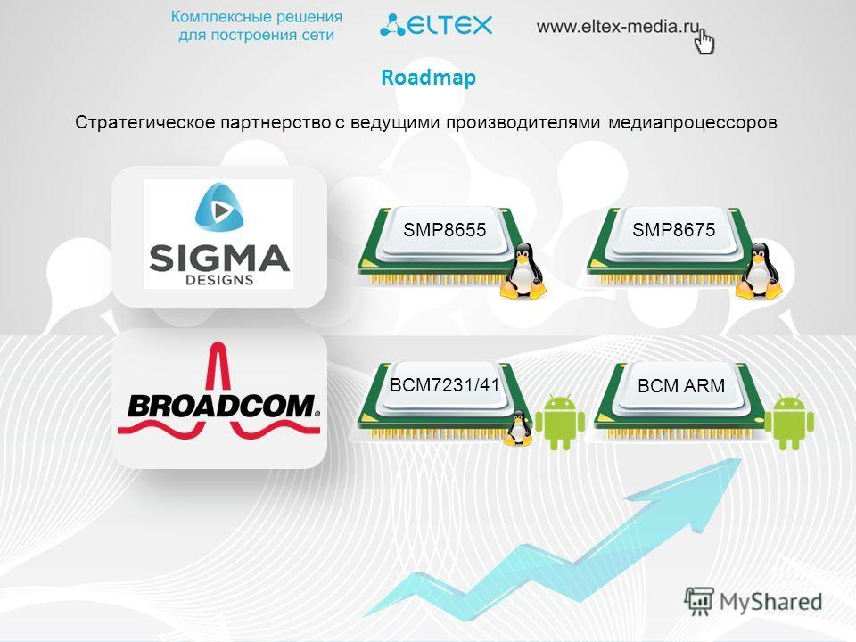 Cтратегическое партнерство с ведущими производителями медиапроцессоров BCM7231/41 Roadmap BCM ARM SMP8655SMP8675