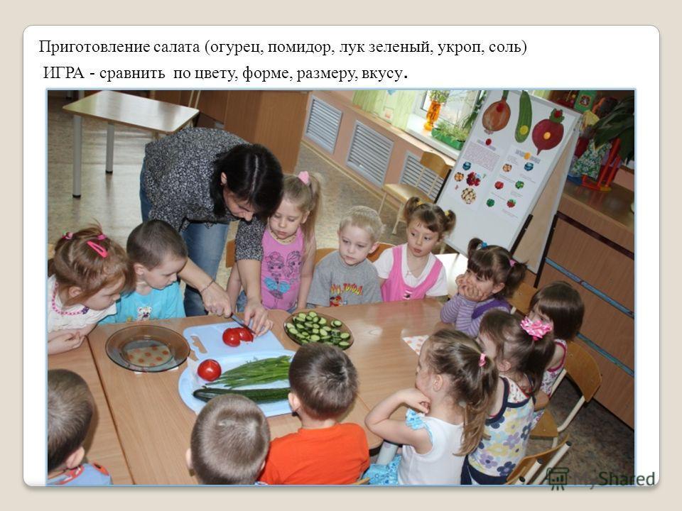 Приготовление салата (огурец, помидор, лук зеленый, укроп, соль) ИГРА - сравнить по цвету, форме, размеру, вкусу.