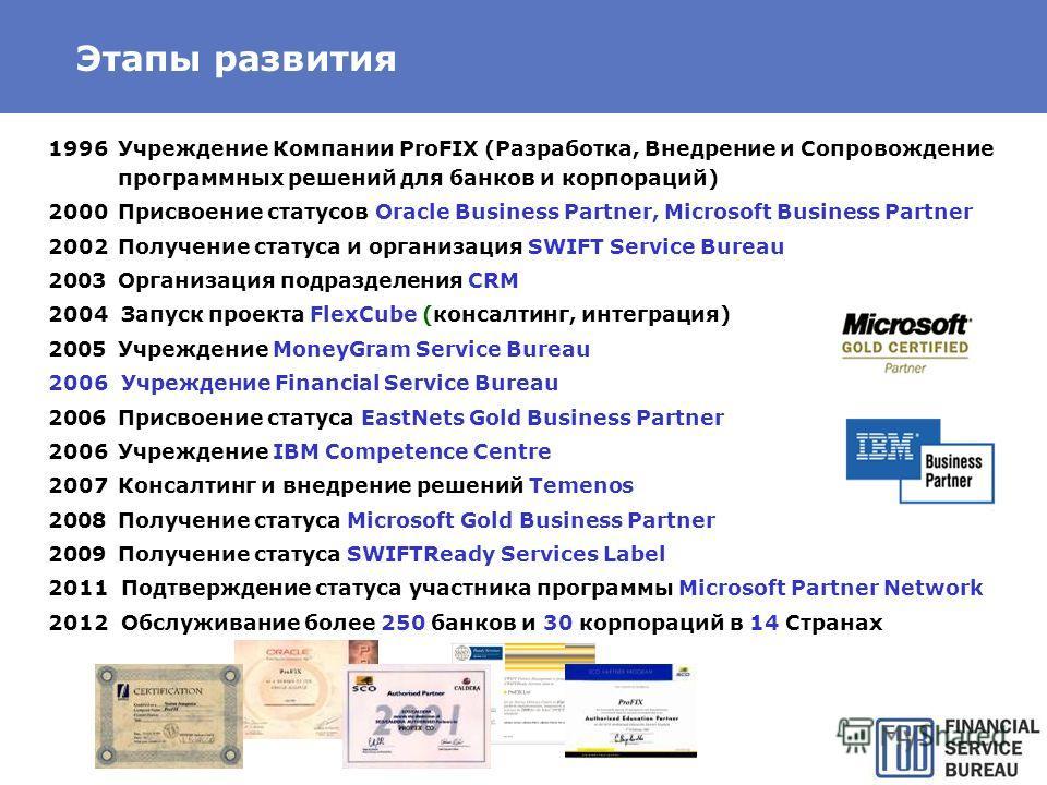 Этапы развития 1996Учреждение Компании ProFIX (Разработка, Внедрение и Сопровождение программных решений для банков и корпораций) 2000Присвоение статусов Oracle Business Partner, Microsoft Business Partner 2002Получение статуса и организация SWIFT Se