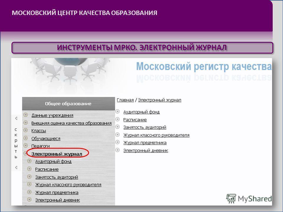 МОСКОВСКИЙ ЦЕНТР КАЧЕСТВА ОБРАЗОВАНИЯ ИНСТРУМЕНТЫ МРКО. ЭЛЕКТРОННЫЙ ЖУРНАЛ
