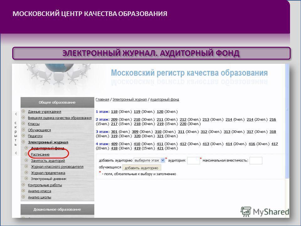 МОСКОВСКИЙ ЦЕНТР КАЧЕСТВА ОБРАЗОВАНИЯ ЭЛЕКТРОННЫЙ ЖУРНАЛ. АУДИТОРНЫЙ ФОНД