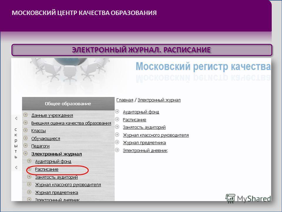 МОСКОВСКИЙ ЦЕНТР КАЧЕСТВА ОБРАЗОВАНИЯ ЭЛЕКТРОННЫЙ ЖУРНАЛ. РАСПИСАНИЕ