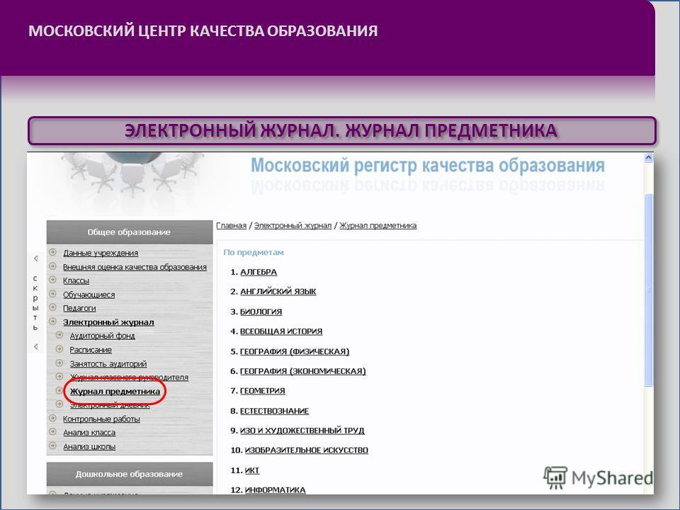 МОСКОВСКИЙ ЦЕНТР КАЧЕСТВА ОБРАЗОВАНИЯ ЭЛЕКТРОННЫЙ ЖУРНАЛ. ЖУРНАЛ ПРЕДМЕТНИКА