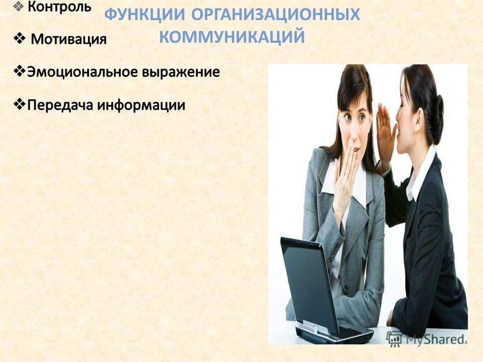 ФУНКЦИИ ОРГАНИЗАЦИОННЫХ КОММУНИКАЦИЙ