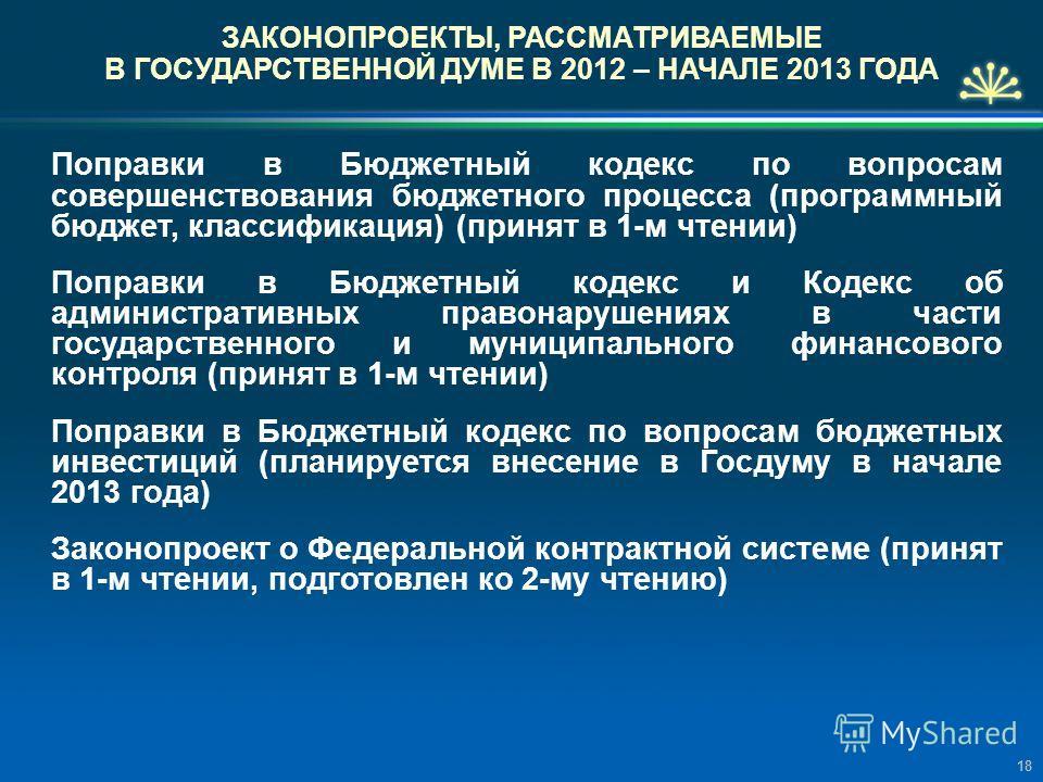 ЗАКОНОПРОЕКТЫ, РАССМАТРИВАЕМЫЕ В ГОСУДАРСТВЕННОЙ ДУМЕ В 2012 – НАЧАЛЕ 2013 ГОДА Поправки в Бюджетный кодекс по вопросам совершенствования бюджетного процесса (программный бюджет, классификация) (принят в 1-м чтении) Поправки в Бюджетный кодекс и Коде