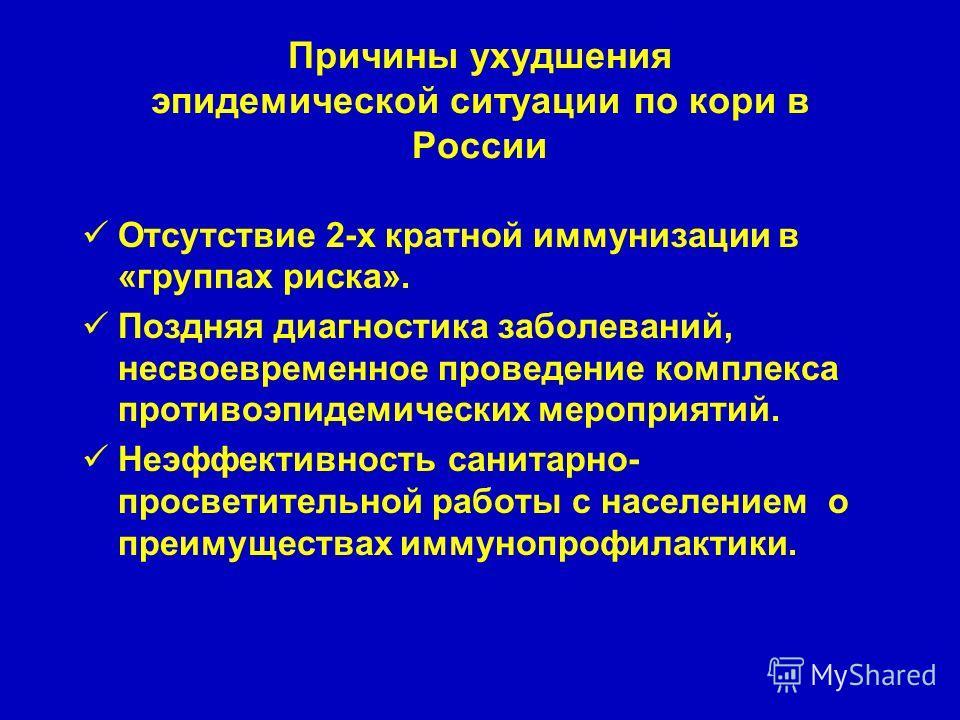 Причины ухудшения эпидемической ситуации по кори в России Отсутствие 2-х кратной иммунизации в «группах риска». Поздняя диагностика заболеваний, несвоевременное проведение комплекса противоэпидемических мероприятий. Неэффективность санитарно- просвет