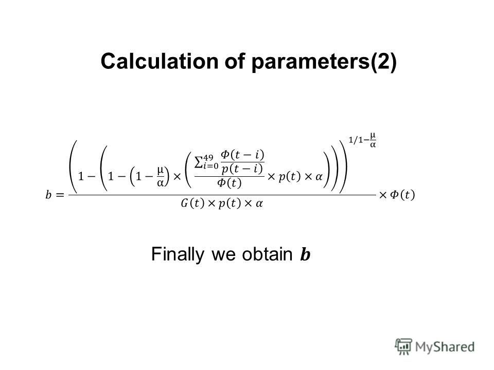 Calculation of parameters(2)