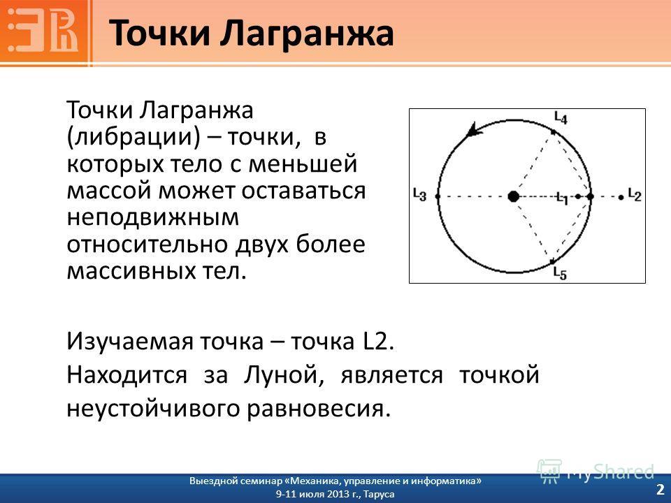 Точки Лагранжа 2 Точки Лагранжа (либрации) – точки, в которых тело с меньшей массой может оставаться неподвижным относительно двух более массивных тел. Изучаемая точка – точка L2. Находится за Луной, является точкой неустойчивого равновесия. Выездной