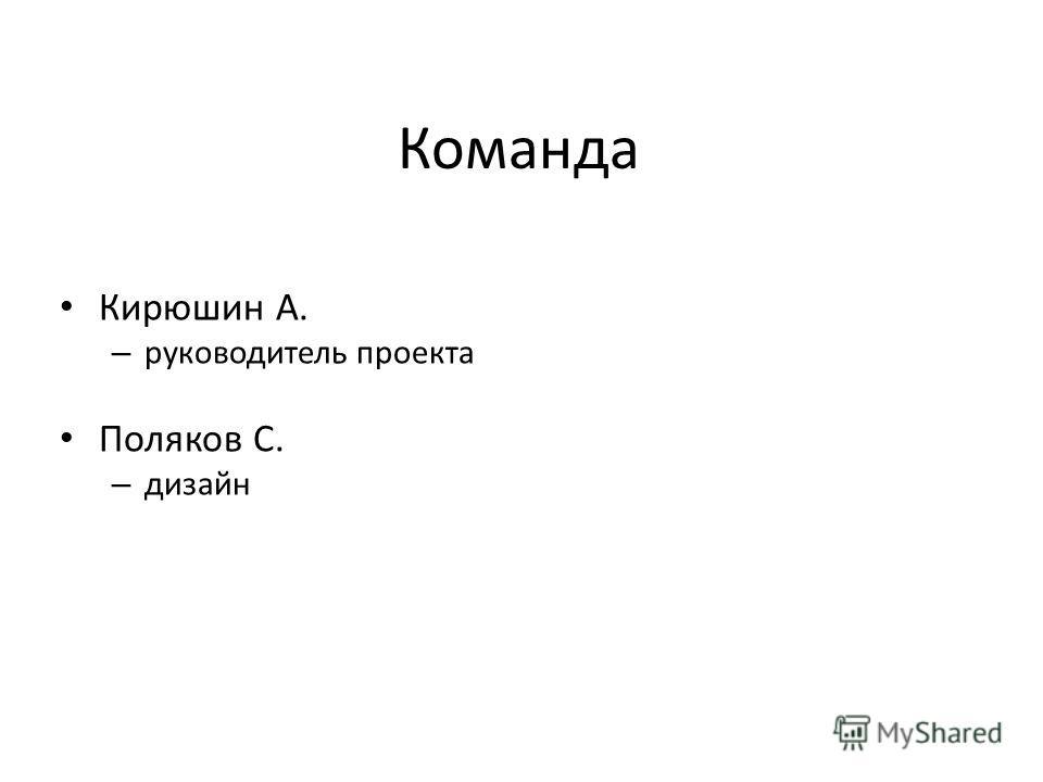 Команда Кирюшин А. – руководитель проекта Поляков С. – дизайн