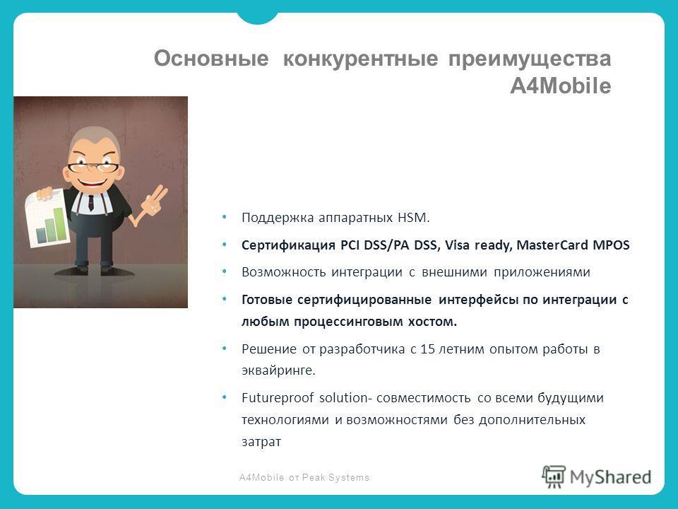 A4Mobile от Peak Systems Поддержка аппаратных HSM. Сертификация PCI DSS/PA DSS, Visa ready, MasterCard MPOS Возможность интеграции с внешними приложениями Готовые сертифицированные интерфейсы по интеграции с любым процессинговым хостом. Решение от ра