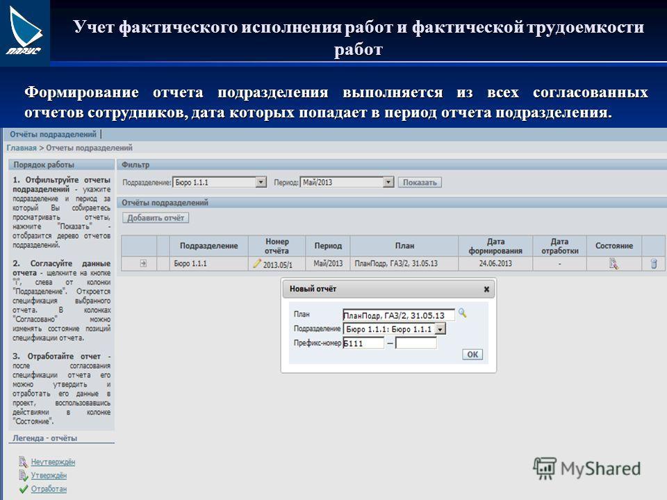 Учет фактического исполнения работ и фактической трудоемкости работ Формирование отчета подразделения выполняется из всех согласованных отчетов сотрудников, дата которых попадает в период отчета подразделения.