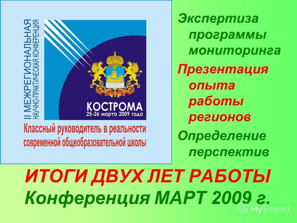 ИТОГИ ДВУХ ЛЕТ РАБОТЫ Конференция МАРТ 2009 г. Экспертиза программы мониторинга Презентация опыта работы регионов Определение перспектив