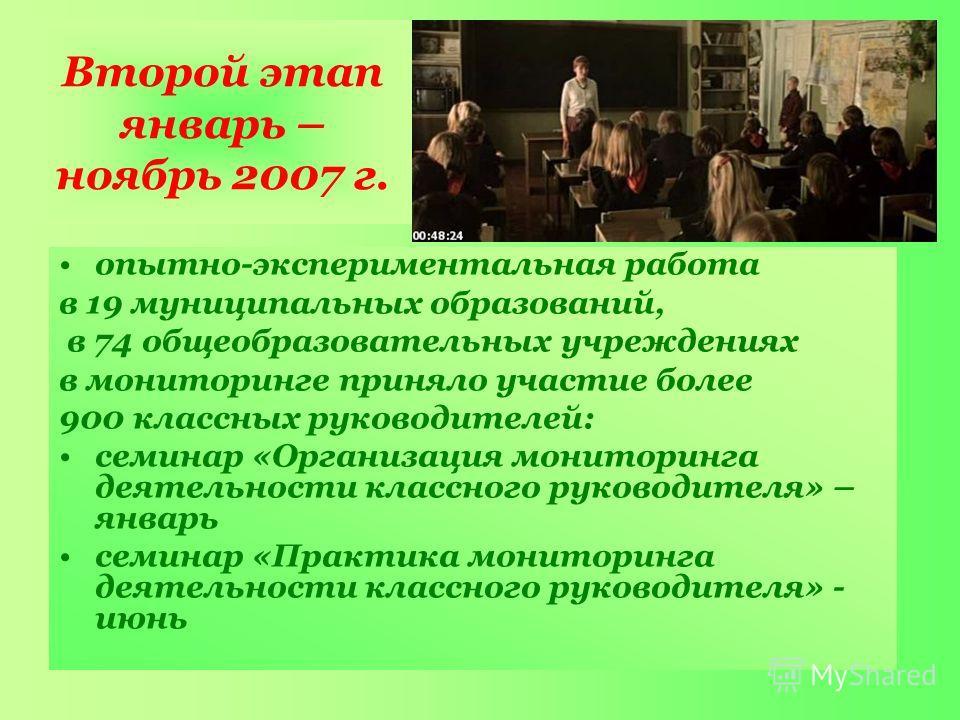 Второй этап январь – ноябрь 2007 г. опытно-экспериментальная работа в 19 муниципальных образований, в 74 общеобразовательных учреждениях в мониторинге приняло участие более 900 классных руководителей: семинар «Организация мониторинга деятельности кла