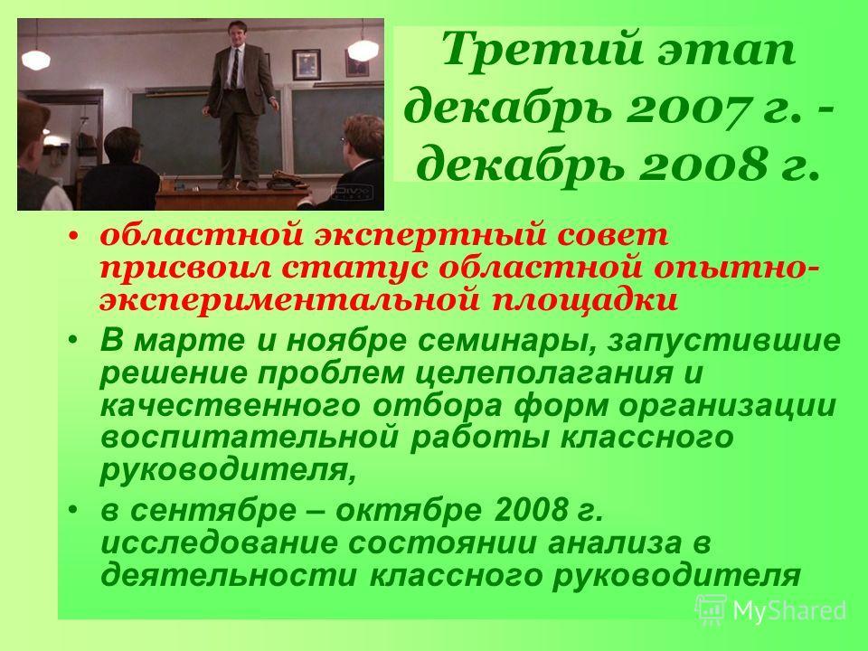 Третий этап декабрь 2007 г. - декабрь 2008 г. областной экспертный совет присвоил статус областной опытно- экспериментальной площадки В марте и ноябре семинары, запустившие решение проблем целеполагания и качественного отбора форм организации воспита