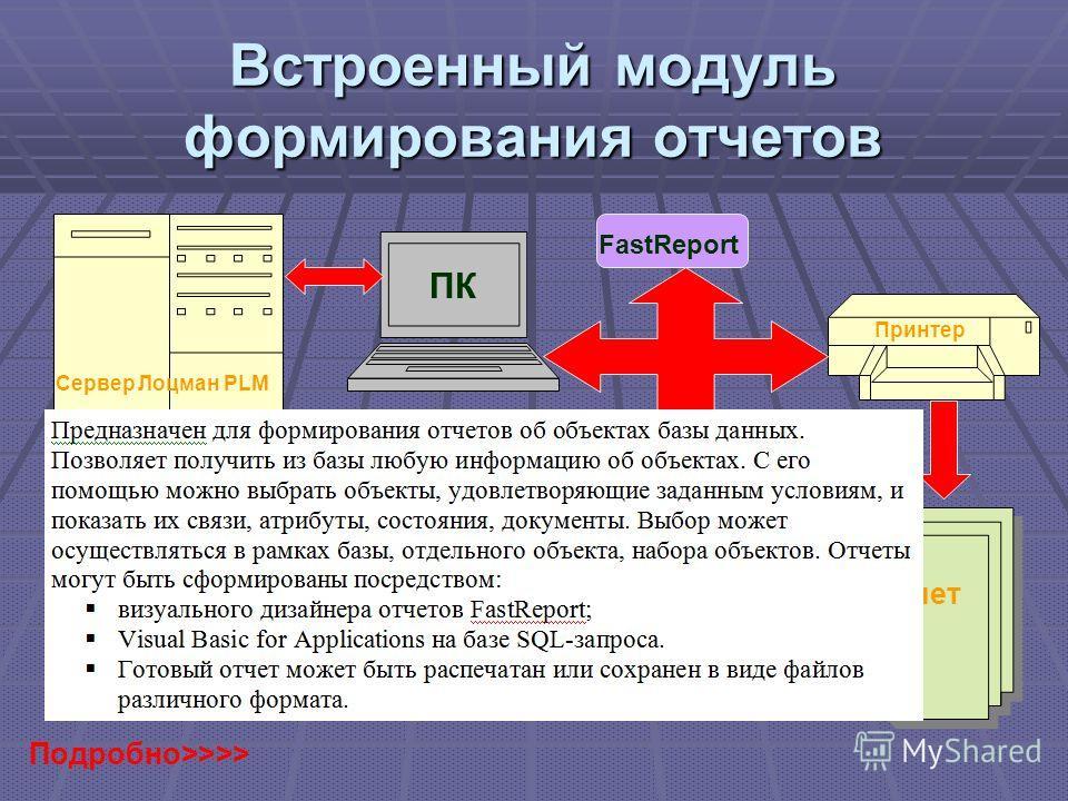 Встроенный модуль формирования отчетов FastReport SQL-запроса Сервер Лоцман PLM ПК Принтер Отчет Подробно>>>>