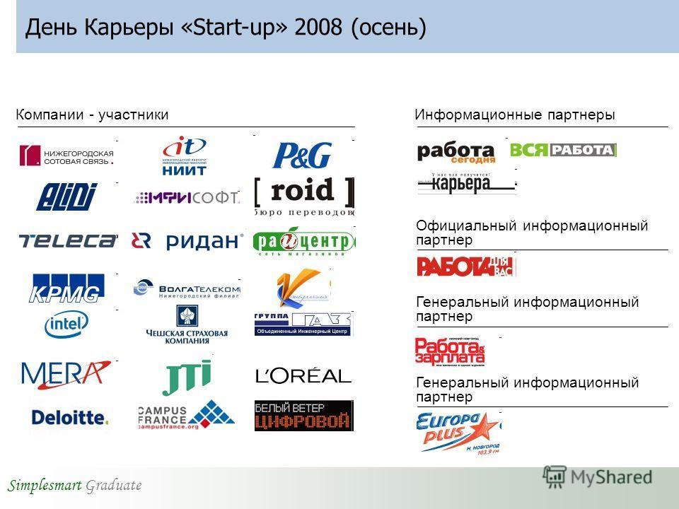Simplesmart Graduate День Карьеры «Start-up» 2008 (осень) Компании - участникиИнформационные партнеры Официальный информационный партнер Генеральный информационный партнер