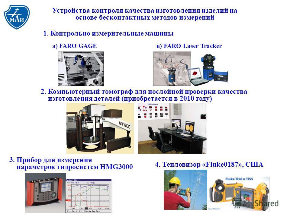1. Контрольно измерительные машины а) FARO GAGEв) FARO Laser Tracker 2. Компьютерный томограф для послойной проверки качества изготовления деталей (приобретается в 2010 году) Устройства контроля качества изготовления изделий на основе бесконтактных м