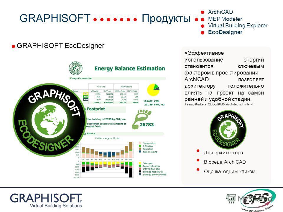 GRAPHISOFT EcoDesigner «Эффективное использование энергии становится ключевым фактором в проектировании. ArchiCAD позволяет архитектору положительно влиять на проект на самой ранней и удобной стадии. Teemu Kurkela, CEO, JKMM Architects, Finland Для а