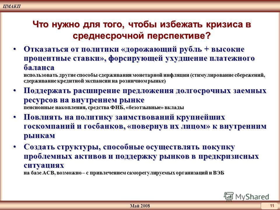 ЦМАКП Май 2008 11 Что нужно для того, чтобы избежать кризиса в среднесрочной перспективе? Отказаться от политики «дорожающий рубль + высокие процентные ставки», форсирующей ухудшение платежного баланса использовать другие способы сдерживания монетарн