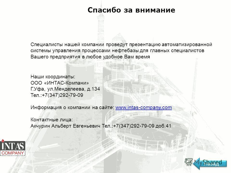 Спасибо за внимание Специалисты нашей компании проведут презентацию автоматизированной системы управления процессами нефтебазы для главных специалистов Вашего предприятия в любое удобное Вам время Наши координаты: ООО «ИНТАС-Компани» Г.Уфа, ул.Мендел