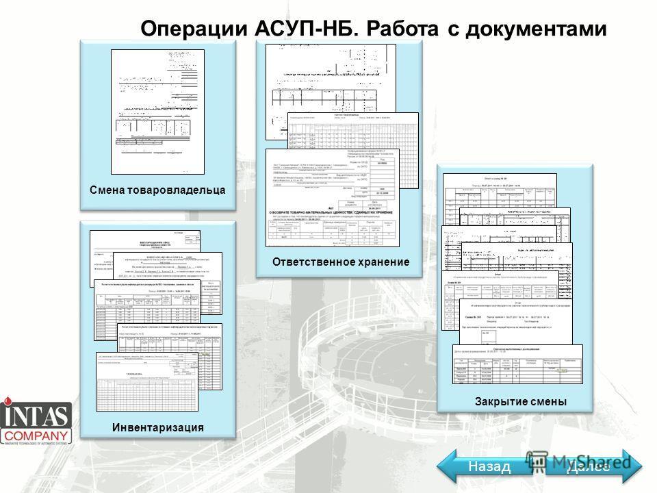 Операции АСУП-НБ. Работа с документами Смена товаровладельца Инвентаризация Ответственное хранение Закрытие смены Далее Назад
