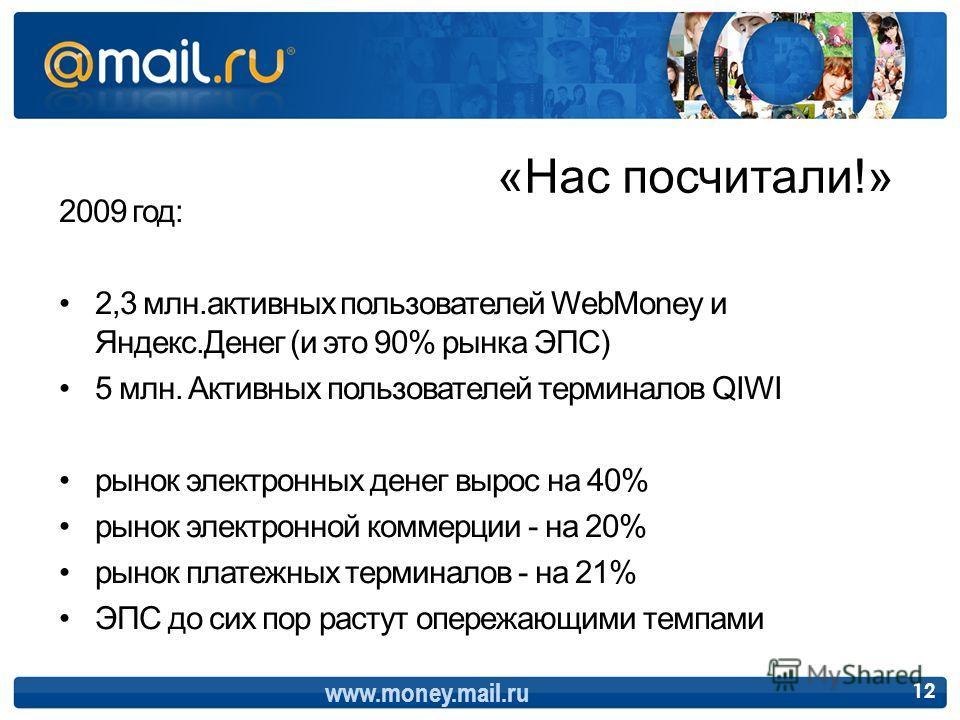 2009 год: 2,3 млн.активных пользователей WebMoney и Яндекс.Денег (и это 90% рынка ЭПС) 5 млн. Активных пользователей терминалов QIWI рынок электронных денег вырос на 40% рынок электронной коммерции - на 20% рынок платежных терминалов - на 21% ЭПС до